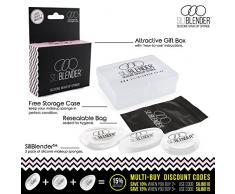 SILIBLENDER – Paquete con 3 esponjas de maquillaje de silicona profesionales con estuche- Núcleo de silicona 100% real – Aplique el maquillaje de forma fácil - Higiénica y fácil de limpiar sin desperdiciar nada de maquillaje
