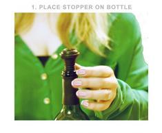 Bomba de Vacío para Sellar y Preservar su Botella de Vino por Chef Caron -1 Bomba de Acero Inoxidable - 4 Tapones de Silicona - Caja de Regalo