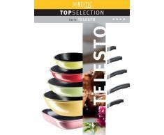 Mäser Domestic TOP Selection Telesto - Sartén de wok, con mango y recubrimiento cerámico ILAG, 30 cm, color rosa y negro