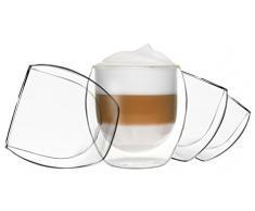 4 x 310 ml Jumbo Cappuccino vasos, vasos térmicos de doble pared - Juego con efecto flotante, también para Latte Macchiato, Té, Cócteles, hielo, agua, zumos, cola, postres, etc., Duos by Feelino