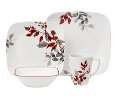Corelle - Juego de vajilla de 16 piezas, de vidrio Vitrelle resistente a las roturas y las desportilladuras, modelo Kyoto Leaves, servicio para 4 personas, color rojo / gris