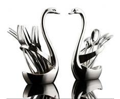 Reze aleación de Lujo Cisne Fruta Tenedor Tenedores para Aperitivos de Postre vajilla Cisne Base Soporte con 3 Tenedores y 3 cucharas