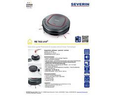 Severin RB 7025 - Robot aspirador, 90 min, 65 dB, 19 V, indicación LED Sensorclean, color negro y rojo granate