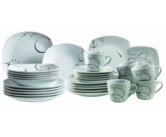 Domestic 921344 Chanson - Vajilla de 6 servicios (30 piezas), color blanco y negro