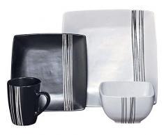 Vajilla de 16 piezas de gres blanco y negro con diseño cuadrado