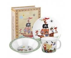 Little Rhymes Pirates - Vajilla de melamina (3 piezas), diseño de piratas, multicolor