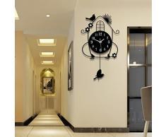 Creative Light- Europa Pastoral Viento Ultra-silencioso Big Swing Reloj Reloj De Pared Salón Dormitorio Moderno Creativo Reloj De Pared De Moda ( Color : Negro )