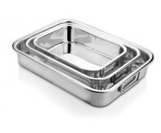 Ipac - Bandeja de horno cuadrada para lasaña (30 cm, acero inoxidable)