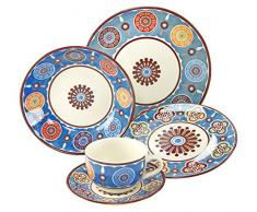 Creatable 19719 Serie sumaya Blue, Vajilla, porcelana, multicolor, 40 x 32,5 x 32,5 cm, 30 unidades