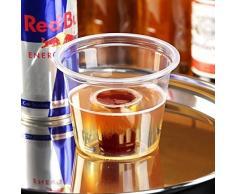 Vasos transparentes desechables 85 ml - Paquete de 50 - Con copa para shot de poliestireno - Vasos de plástico con dispensador para shot. Ideal para Red Bull y Jagermeister.