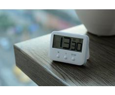 Temporizador de Cocina VVAY,Reloj-temporizador con Pantalla Digital LCD Magnético Electrónico de Cocina Ajustable Fijación Colgante de Cuenta Atrás Máxima a 99 minutos 59 Segundos(Blanco)