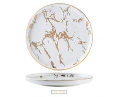 Vajilla de lujo con bordes dorados de mármol para cena, color negro mate y blanco, White a, 6/15 cm
