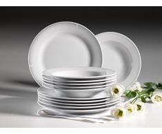 Domestic by Mäser 928936 Serie Lucine Vajilla para 6 personas, 12 piezas, porcelana, porcelana, blanco, 40 x 40 x 25 cm