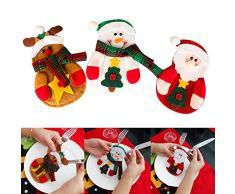 Hrph 3 piezas de plata de Navidad del muñeco de nieve de Santa Acciones Fecha Elk cena Cubiertos Vajilla Decoración de Navidad