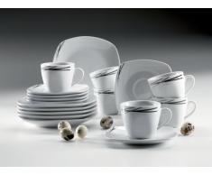 Mäser Domestic Linea Nera - Servicio completo, 30 piezas, incluye 6 tazas de café, 6 platillos de café, 6 platos de postre, 6 platos llanos y 6 platos hondos, color blanco y negro