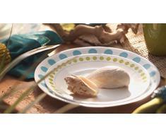 Corelle - Juego de vajilla de 16 piezas, de vidrio Vitrelle resistente a las roturas y las desportilladuras, modelo South Beach, servicio para 4 personas, color azul/verde
