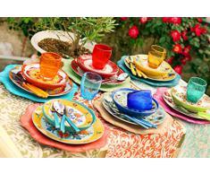 Villa DEste Calamoresca Juego de 18 Platos de Gres y Porcelana de Varios Colores