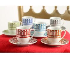 SATUR Set Taza De Café con Plato 6 Uds. Mythos Multicolor