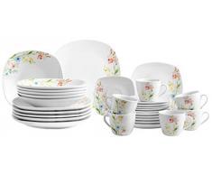 Josef Mäser GmbH Domestic by Mäser, Serie Ontario, juego de café 18 teilig con 6 tazas, platillos y platos de postre, diseño de flores