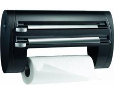 Emsa 509247 - Expendedor triple de rollos para cocina, papel de cocina, papel de aluminio y papel transparente, color negro