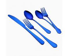 Juego de vajilla redonda lisa de una pieza portátil de acero inoxidable portátil Cubiertos de carne occidental Juego de cinco piezas para comidas familiares y picnics al aire libre,Azul