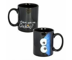 Taza de Cerámica Cookie Monster | Barrio Sésamo | Negro | 300 ML | Taza de café