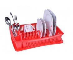 Escurridor de platos - rojo - con rejilla - escurridor vajilla - escurridor - bandeja - escurreplatos - escurridor vajilla