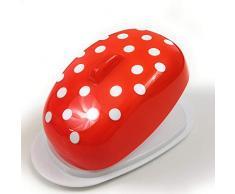 Berossi Plato de Mantequilla Plato de plástico de Colore Rojo mantequera plástico con Tapa BPA Libre para el Almacenamiento en la Nevera Caja de Plato de plástico Giratorio Lata Estilo Retro