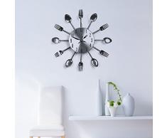 Soledi Reloj de Pared Diseño Creativo con Cuchara Tenedor Torta Cubiertos 32 cm Plata sin Batería