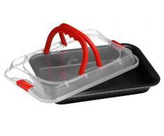 Premier Housewares - Bandeja de horno rectangular antiadherente para repostería (incluye tapa con asas, 8 x 36 x 23 cm), color rojo