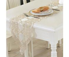 TaiXiuHome oro De estilo europeo tela del cordón calado bordado de camino de mesa para la boda y la decoración del partido 30 x 120cm