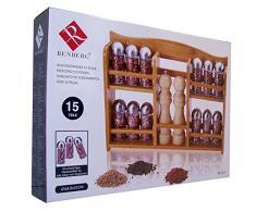 15-unidades Juego de botes de especias - estantería de bambú - incluye 12 tarros - 1 molinillo de pimienta - 1 salero - para especias