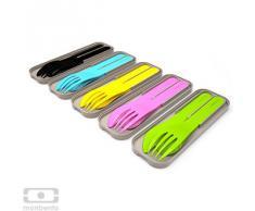 MB Pocket Color verde - El juego de cubiertos de plástico biodegradable