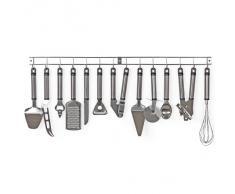 TecTake Herramientas utensilios de cocina + listón para colgar (13 piezas) en acero inoxidable