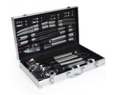 TecTake Cubertería de 25 piezas para barbacoa de acero inoxidable Accesorios para barbacoa Cubiertos para barbacoa con maletin