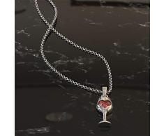 AILUOR Botella de la Mujer Copa de Vino Y Colgante Collar Rojo