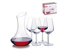 Pasabahce Vino Copas y servir juego de decantador, cristal, transparente, 1,8 L