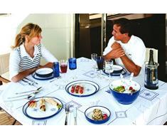 Marine Business Columbus - Vajilla completa para 4 personas, melamina, color blanco y azul