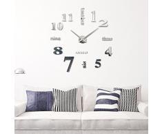 Anself - Reloj de pared extraíble creativo de vidrio acrílico, efecto de espejo para la decoración del hogar