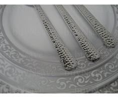 DECORLINE Deluxe plástico pesado cubiertos desechables - plata de plástico metalizado , PS, con efecto de martillo (Tenedor 18 cm )