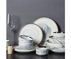 Vajilla de estilo nórdico de mármol dorado combinación de vajilla de cerámica combinación de plato de arroz 14 sets