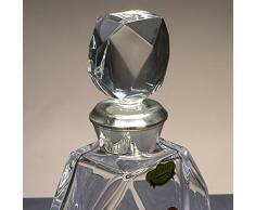 Botella de cristal, decanter, garrafa, para whisky y licor, boquilla en plata de ley 925, 23 cm. de altura.