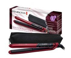 Remington S9600 Silk - Plancha de pelo, placas flotantes de 110 mm, doble capa de revestimiento cerámico, pantalla LCD, función memoria