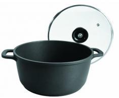 Lacor Forte 25824 - Cacerola con tapa de cristal, 24 cm, aluminio, negro
