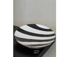 Centro de mesa-fuente liso de barro rojo, hecho a torno alfarero, esmaltado en color cebra blanco/negro. Firmado y etiquetado por nuestro taller artesano. Medidas 40/6cm.