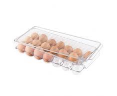 InterDesign Fridge/Freeze Binz Envase para huevos, huevera de plástico grande para 21 huevos, caja de huevos, transparente