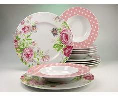 Creatable 16667 Serie Amelia rosas, Vajilla, 12 piezas, porcelana, blanco, 32 x 24 x 32 cm