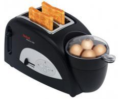 Tefal Toast N Egg TT5500 Tostadora Y Cuecehuevos, 1200 W, Acero Inoxidable, 5 Velocidades, Negro/Pateado