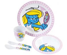 Home Los Pitufos Set Infantil de Desayuno Dibujo Pitufina, Multicolor