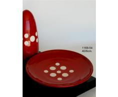 Centro de mesa-fuente de barro rojo, hecho a torno alfarero. Esmaltado en color rojo con lunares blancos. Firmado y etiquetado por nuestro taller artesano. Medidas 40/6cm.